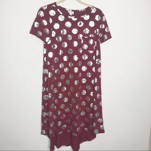 NEW LuLaRoe Carly maroon dress silver dots sz XS